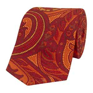 Orange Silk Tie with Tonal Freesias