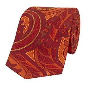 Orange Silk Tie with Tonal Freesias
