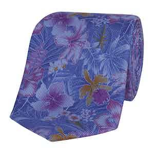 Blue Silk Tie with Purple Freesias