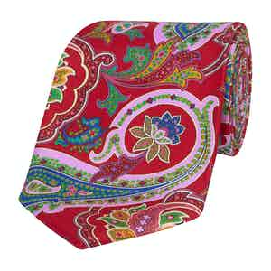 Red Silk Tie with Pink, Yellow and Blue Paisley Print