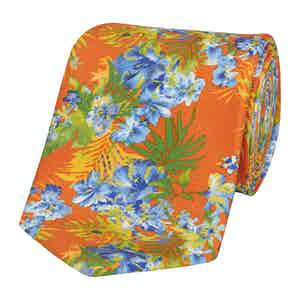 Orange Silk Tie with Blue Freesia Print