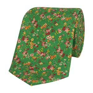 Green Silk Tie with Pink and Yellow Flowers