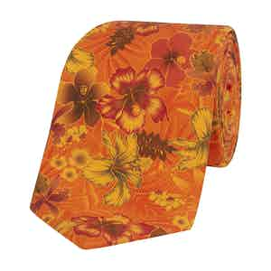 Orange Silk Tie with Brown Floral Print