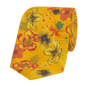 Yellow Silk Tie with Orange and Blue Flowers