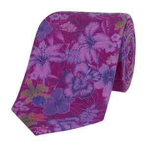 Purple Silk Tie with Purple Lily Print