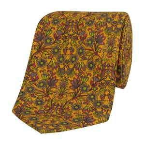 Yellow Silk Tie with Green Floral Print