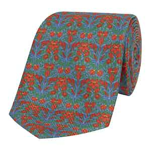 Green Silk Tie with Orange Floral Print