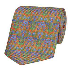 Orange Silk Tie with Blue Lily Print