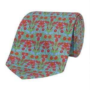 Sky-Blue Silk Tie with Red Floral Print