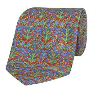 Red Silk Tie with Blue Floral  Print