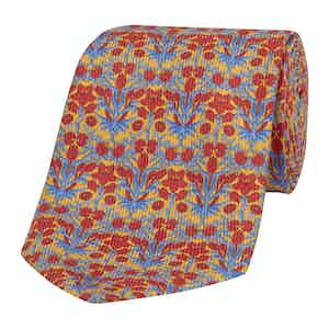 Yellow Silk Tie with Red and Blue Floral-Print