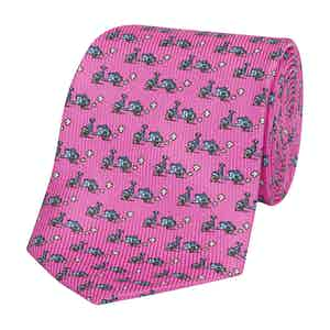 Pink Silk Tie with Blue Vespa Print