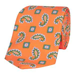 Neon Orange Silk Tie with Green and Blue Paisley Petals