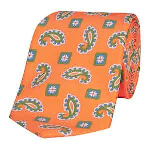 Neon Orange Silk Tie with Green and Blue Paisley Petals