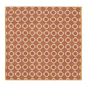 Red and Orange Floral-Patterned Linen Pocket Square