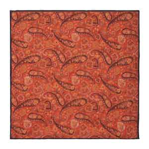 Orange Floral-Paisley Linen Pocket Square