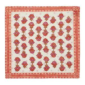 Pink and Red Posy-Patterned Linen Pocket Square
