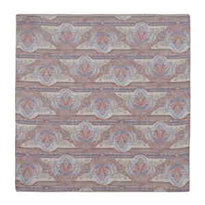 Blue, Red and Grey Floral-Paisley Linen Pocket Square