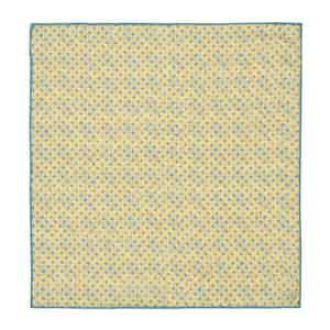 Azure Blue and Lemon Poppy-Print Linen Pocket Square