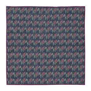 Navy Blue and Ruby Poppy-Print Linen Pocket Square
