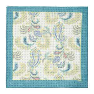 Turquoise, Yellow and White Paisley Pocket Square