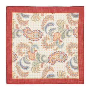 Red, Blue and Yellow Paisley-Dot Pocket Square