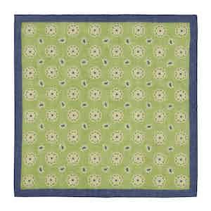 Green and Navy Daisy-Paisley Linen Pocket Square