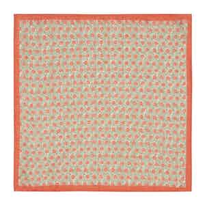 Orange Micro-Daisy Print Linen Pocket Square
