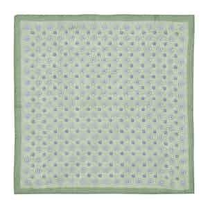 Mint Micro-Daisy Print Linen Pocket Square