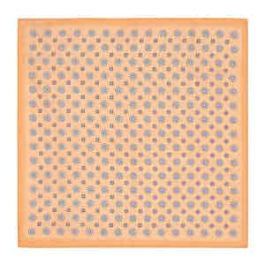 Orange and Blue Daisy-Print Linen Pocket Square