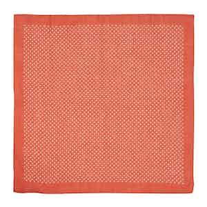 Red Star-Print Linen Pocket Square