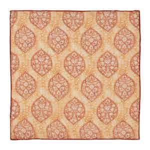 Orange Leaf and Vine Print Linen Pocket Square