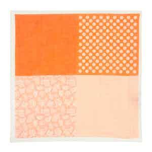Orange Dot-Daisy-Paisley Print Linen Pocket Square