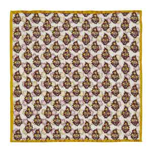 Yellow and Red Reversible Floral Linen Pocket Square
