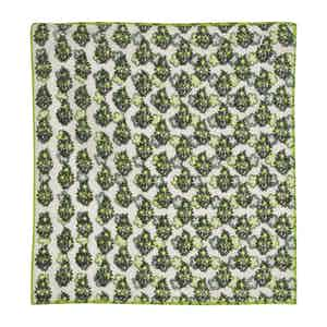 Green and White Reversible Floral Linen Pocket Square