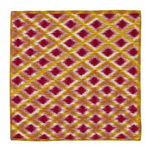 Yellow Lattice Print Red Linen Pocket Square