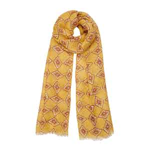 Yellow Diamond-Print Linen Scarf