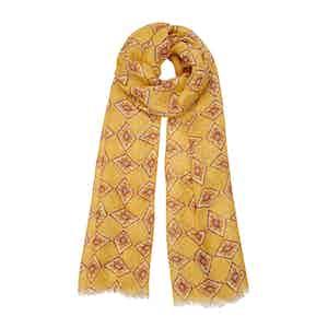 Yellow Diamond-Print Linen Scarf