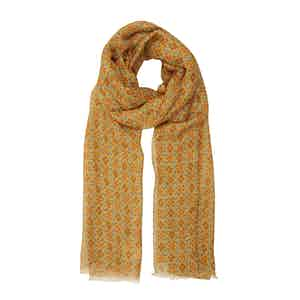 Golden-Yellow Linen Scarf with Blue-Red Flowers