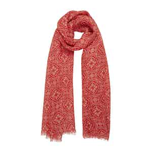 Red and White Graphic-Print Linen Scarf