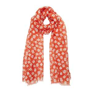 Red and White Diamond-Print Linen Scarf