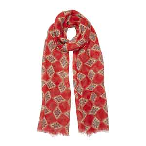 Red, Brown and Blue Diamond-Print Linen Scarf