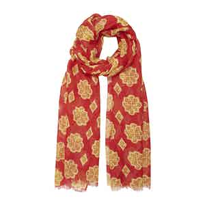 Strawberry Red Linen Scarf with Yellow Icons