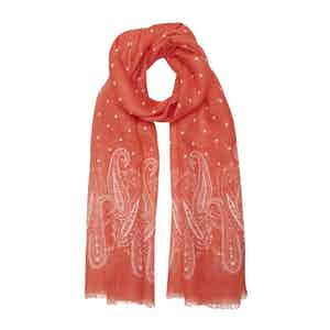 Strawberry Red Linen Scarf with Large Paisley Print
