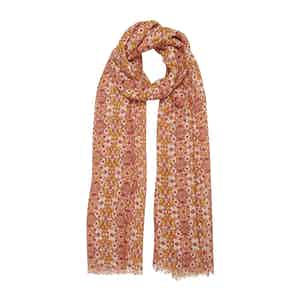 Yellow and Orange Star-Paisley Print Linen Scarf
