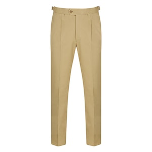 Cream Cotton-Twill Pleated Trousers