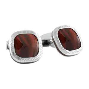 Silver and Red Tiger's Eye Doppione Cushion Cufflinks