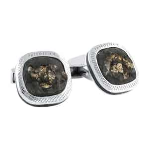 Slate Steel and Gold Pyrite Signature Cufflinks