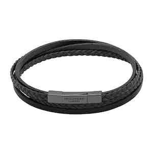 Large Black Leather Triple Wrap Braided Fettuccini Bracelet