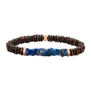 Medium Rose Gold, Wood and Blue Lapis Legno Bracelet
